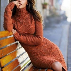 Moda Int. Cable Knit Sweater Dress
